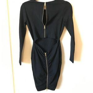 Dolce Vita Black Bodycon Cutout Zipper Dress